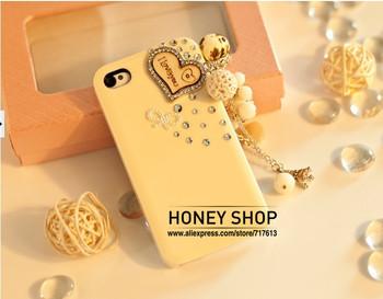 Free ship!100%handmade Luxury 3D Wood Heart Kitty Pendant Diamond Bling Case for iphone5 5g!