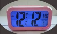 Pink Color Digital LED Calendar Blue Backlight Snooze Clever Alarm Clock Large LCD