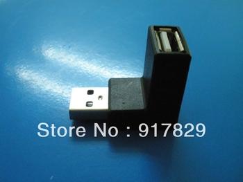 2PCS/Lot Free ShippingFree Shipping HongKong Port USB 2.0 M / F 90D Low Profile Right Angle Adapter Black