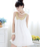 New arrival Chiffon Dress Women 2013 Fashion Paillette dress Bohemia style  Sleeveless Sequined Summer Dress Free shipping