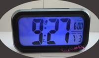 Black Color Digital LED Calendar Blue Backlight Snooze Clever Alarm Clock Large LCD Display