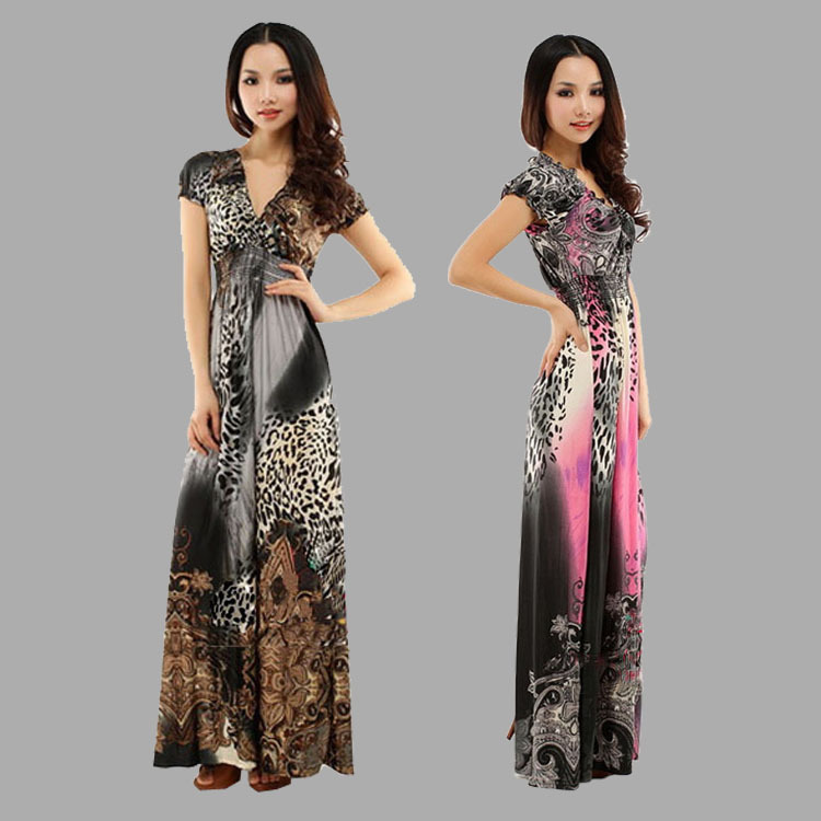 Sale Deep-V Neck 2013Summer new Plus/Large size beach skirt leopard Print Bohemian Long Dress Rose Floor-Length Sexy wholesale(China (Mainland))