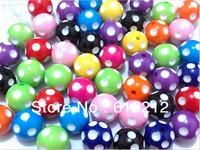 Wholesale  20mm 100pcs/lot  Mix  Acrylic Polka Dot Beads For Chunky Necklace Kids