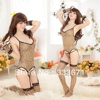 New arrival leopard sexy lingerie women's underwear in set body sexy suit the erotic lingerie plus size long leopard stockings
