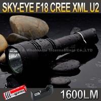 SKY-EYE CREE XML U2  5-Mode 1600 Lumen 18650 LED Flashlight Torch F18+ 3000mAh 18650 battery+ charger