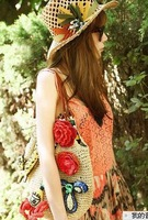 2013Free shipping hand-made Pepper potts super cute little tiger beach single shoulder bag flower straw handbags