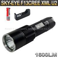 SKY-EYE CREE XML U2 5-Mode 1600 Lumen 18650/26650/3xAAA LED Flashlight Torch F13+ 3000mAh 18650 battery+ charger