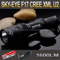 SKY-EYE CREE XML U2  5-Mode 1600 Lumen 18650 LED Flashlight Torch F17+ 3000mAh 18650 battery+ charger