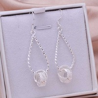 Free Shipping 925 Sterling Silver Earring Fine Fashion Silver Plated Clip Stud Jewelry Earring SMTE281