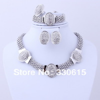 2013 African New Design Free Shipping african  Rhinestone Necklace silver chunky necklace Jewelry Set for Women