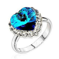 JJ225 Classic Titanic Heart of Ocean Blue Austrian Crystal Alloy Ring