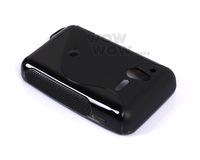 2 Piece a Lot Black BK TPU Gel Soft Case S-Line Wave For Sony Ericsson Xperia Active ST17i Hong Kong Seller