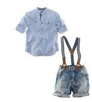 New, retails ,Free Shipping, boys long sleeve shirt+jeans pants+ belt, 3 in 1, 1set/lot--JYS270