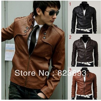 New Korean Style  windproof waterproof jacket Men's Slim Zipper Designed PU Leather Coat Jacket 3Colors/M L XL XXL Brown Black