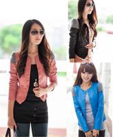Women Lady OL Faux Leather Long Sleeve Short Jacket Coat Blazer Suit Outerwear