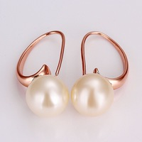 ME747 18K Rose Gold Plated White Round Pearl Bent Curvy Drop Earrings