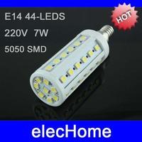 7W E14 LED Corn Light Bulb Lamp Bulbs 44 leds 5050 SMD 210-240V 220V 230V 240V Nature White Warm White Free Shipping