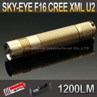 SKY-EYE CREE XML U2  5-Mode 1200 Lumen 18650 LED Flashlight Torch Glod F16+ 3000mAh 18650 battery+ charger
