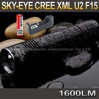 SKY-EYE CREE XML U2  5-Mode 1600 Lumen 18650/26650/3xAAA LED Flashlight Torch F15+ 3000mAh 18650 battery+ charger