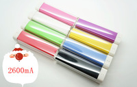 2013 Newest Colorful Lipstick Power Bank External Battery Charger 2600mah Suitable for Samsung iphone LG with Mini USB Cable
