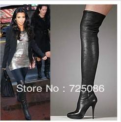 kim kardashian coxa botas altas/couro genuíno overknee botas de salto salto/daffodile sola vermelha 2012 senhoras boot(China (Mainland))