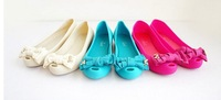 2013 summer bowknot flat single shoes fish mouth jelly candy color round head flat sandals with plastic