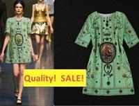 Top quality Women's Half Sleeve Beading Dress  Retro Designer  Italian Sicilian Dress Printed  Loose Straight xxxl