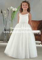 2014 Sleeveless Pleat Spaghetti Straps Beaded Decoration Little Queen Communion Dresses for Girls White LG029