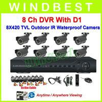 Freeshipping 8Ch H.264 DVR Kit 8pcs 420TVL Waterproof IR Cameras 8Ch D1 DVR 8Ch Security Surveillance Video CCTV Camera System