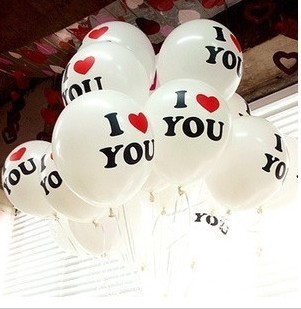 Free Shipping  I LOVE YOU wedding proposal printed balloons   100pcs/lot