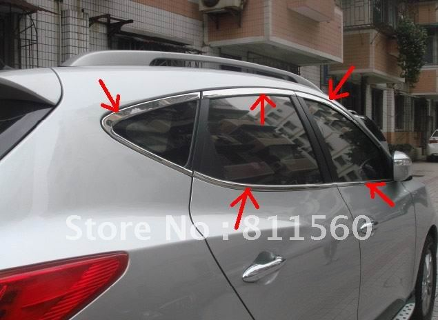 Stainless Stain Window Frame Trim for Hyundai Tucson ix35 2010 2011 2012 +(China (Mainland))