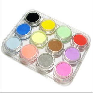 Free shipping Gel Nail Products Acrylic Nail  Liquid Powder  Acrylic Powder Muticolor Rock Crystal Powder 12 Clolors,  HJS001