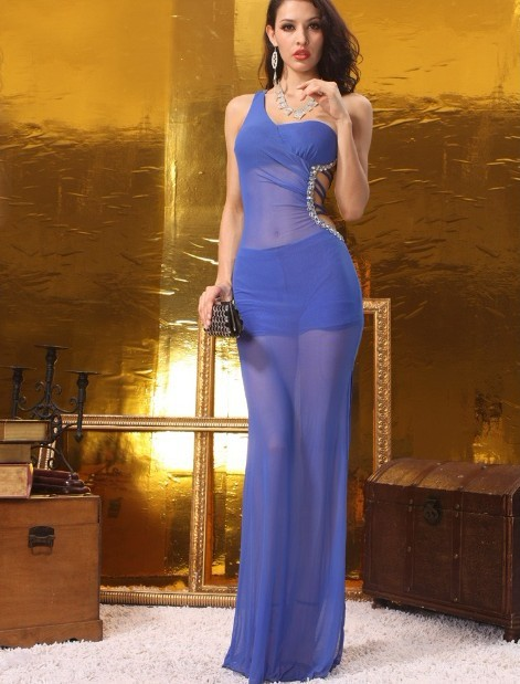 Free Shipping Sexy Custom Made A-line One Shoulder Beading Strapless Blue Crepe Wedding Party Dress(China (Mainland))