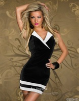 2014 Best Seller Women Fashion Mini Black White Blue Red Sexy Dress Girl Party Dresses Free Shipping 8913