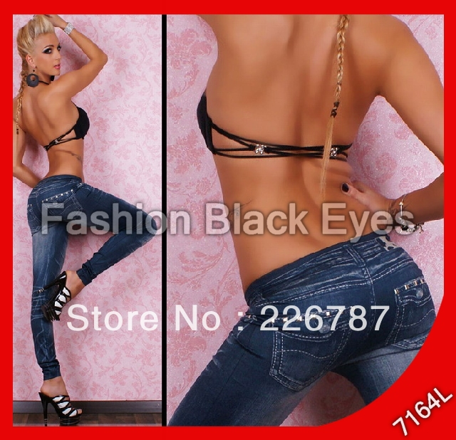 Free Shipping accept Qiwi wallet 2013 leggings fashion punk rock Sexy Jeans Look tight Leggings tattoo print Woman Pants 7164(China (Mainland))