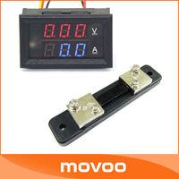 """2in1 DC Volt Amp Dual display Meter 0.28""""  DC 0-100V/50A Red Blue Voltmeter Ammeter With Ampere Shunt #100045"""