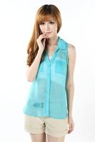 Free shipping!2013 New Summer women fashion Blue Perspective Chiffon long blouse/Sleeveless tank top