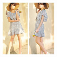 2013 Free Shipping Korean Style Lotus Sleeve  Girl Dancing Chiffon  Summer Dress Blue BX12062818