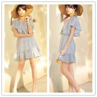 2013 Free Shipping Korean Style Lotus Sleeve  Girl Dancing Chiffon  Summer Dress Blue BX12062818