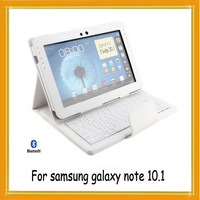 "White For Samsung Galaxy Note 10.1 Bluetooth Wireless Keyboard Removable Cover Case N8000 / N8010 10.1"" Tablet Free Shipping"