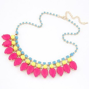 Min Order $10(mix order)Free Shipping!Wholesale Jewelry European  Fashion Exaggerated Personality Gems Drop Women Necklace