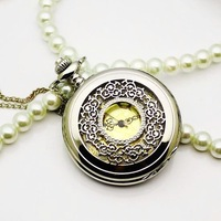 (WA326) Silver Hollow Out Cover Exquisite Pattern Quartz Pocket Watch Hot Sale,Necklace Vintage Fashionable