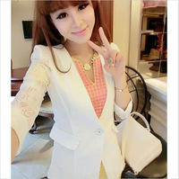Free shipping Women's short jacket summer 2013 lace patchwork crochet cardigan suit jacket