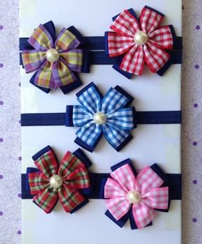 30pcs Baby England Grid Flower Headbands Girl 4 inch Ribbon Bows Headbands Children's Hair Accessories Headwear Headdress