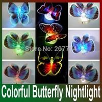 Colorful Fiber Optic Butterfly Nightlight LED Butterfly Night Light For Wedding Room Night Light For Children gift 10pcs/lot