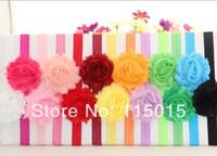 24pcs/lot Wholesale 1.5CM Shimmery Stretchy Baby Headbands Shabby Flowers Headband For Children Elastic Headbands Free Shipping