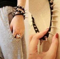 N1019 Punk cortex rivets hair bands, ribbon necklace bracelet multifunction