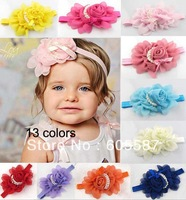 13 colors 10 pieces / lot CPAM free shipping rose pearl flower baby girl headband / fashion baby elastic hair band