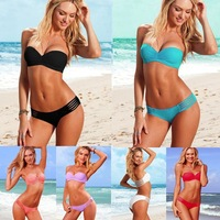 Free P&P women Push Up Bathing suits Unlined Pad Bra Swimsuits Swimwear Bikinis sets Beachwear Top + Bottoms 6 Colors SIZE S M L