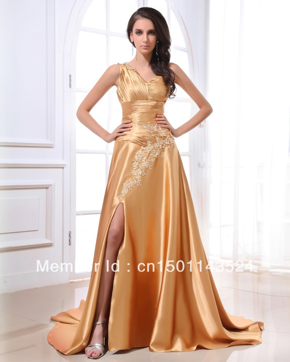 Free Shiping 2013 New Arrival Formal Evening Dresses Sexy One Shoulder Long Gold Stain Prom Dress With Appliques(China (Mainland))